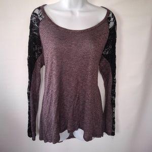Purple & black lace plus size tunic